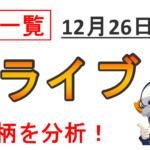 【ライブ配信報告】第26回:12月26日 9銘柄をリアルタイム分析しました!
